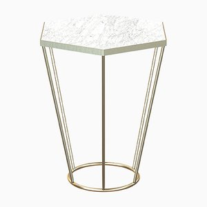 SEI Brass-Plated Side Table with White Marble by Alex Baser for MIIST