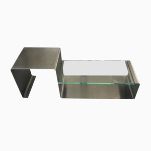 Coffee Table in Stainless Steel & Glass, 1970s