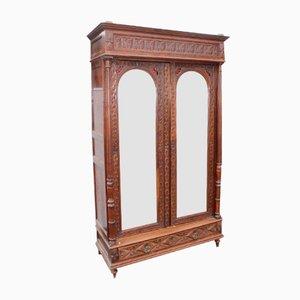 Vintage Breton Carved Oak 2-Door Mirrored Wardrobe