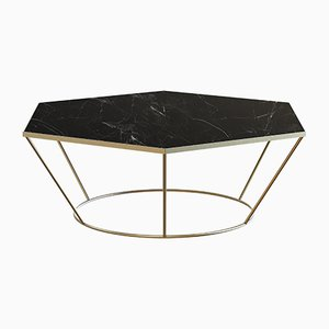 SEI Brass-Plated Coffee Table with Black Marble by Alex Baser for MIIST