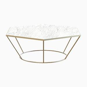 Tavolino SEI placcato in ottone con ripiano in marmo bianco di Alex Baser per MIIST