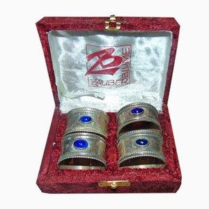 Anelli per tovaglioli con scatola di velluto di Zauber Blume, anni '70, set di 4