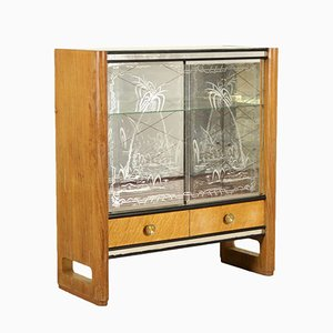 Italian Maple Veneer, Brass & Glass Cabinet, 1950s