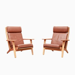 Model GE290 Leather Armchairs by Hans J. Wegner for Getama, 1960s, Set of 2