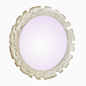 Vintage Textured Glass Illuminated Round Mirror, 1950s