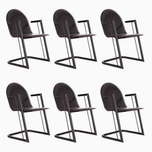 Schwarze Leder Esszimmerstühle, 6er Set
