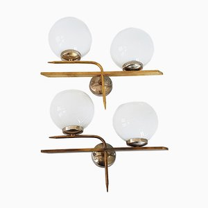 Mid-Century French Brass & Glass Wall Lights, 1950s, Set of 2