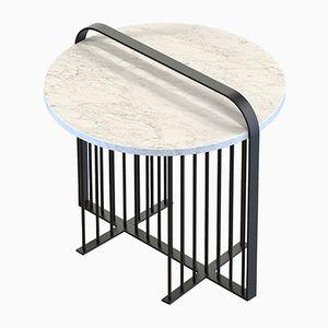 Table Basse MEISTER Noire avec Marbre Blanc par Alex Baser pour MIIST