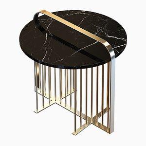 Table Basse MEISTER en Laiton Plaqué avec Marbre Noir par Alex Baser pour MIIST