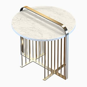 MEISTER Brass-Plated Coffee Table with White Marble by Alex Baser for MIIST