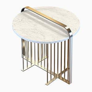Table Basse MEISTER en Laiton Plaqué avec Marbre Blanc par Alex Baser pour MIIST