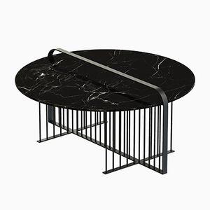 Tavolino da caffè MEISTER nero con ripiano in marmo nero di Alex Baser per MIIST