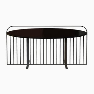 MEISTER Coffee Table in Powder-Coated Steel & Black Glass by Alex Baser for MIIST