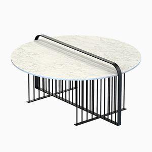 Tavolino da caffè MEISTER nero con ripiano in marmo bianco di Alex Baser per MIIST