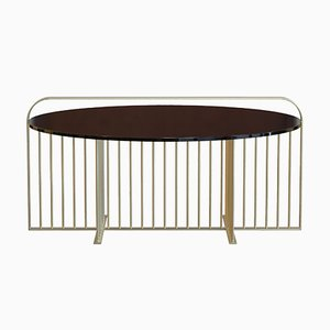 MEISTER Coffee Table in Brass-Plated Steel & Black Glass by Alex Baser for MIIST
