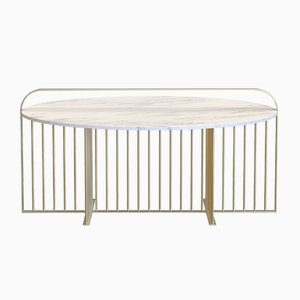 MEISTER Coffee Table in Brass-Plated Steel & Carrara Marble by Alex Baser for MIIST