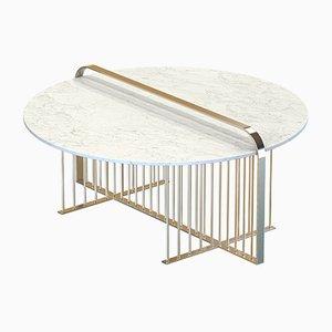 Table Basse MEISTER en Laiton Plaqué avec Plateau en Marbre Blanc par Alex Baser pour MIIST