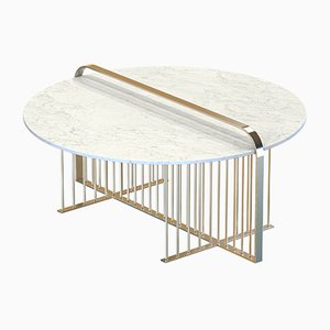 Vermessingter MEISTER Couchtisch mit weißer Marmorplatte von Alex Baser für MIIST