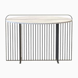 MEISTER Dining Table in Powder-Coated Steel & Carrara Marble by Alex Baser for MIIST