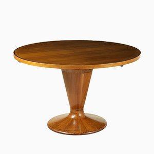 Italian Walnut Veneer & Glass Round Table, 1950s
