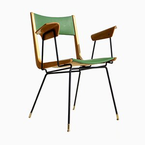 Green Leatherette Armchair by Carlo De Carli, 1950s