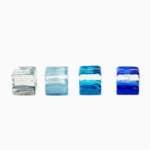 Fermacarte in vetro di Murano di Carlo Nason per Mazzega, anni '60, set di 4