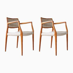 Mid-Century Model 65 Teak Armchairs by N. O. Møller for J.L. Møllers, Set of 2