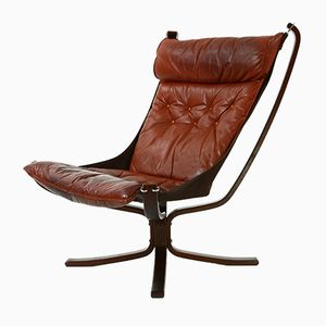 Falcon High Back Lounge Chair with Leather Cushion by Sigurd Resell for Vatne Møbler, 1970s