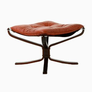 Falcon Footstool with Leather by Sigurd Resell for Vatne, 1970s