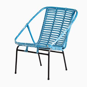 Blue Painted Wicker Garden Chair, 1970s