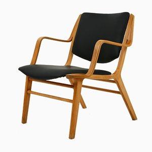 Black Leather Ax Chair by Christian Hvidt & Orla Mølgaard-Nielsen for Fritz Hansen, 1950s