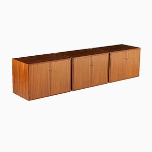 Italian Veneered Wood Wall-Mounting Cupboards, 1960s