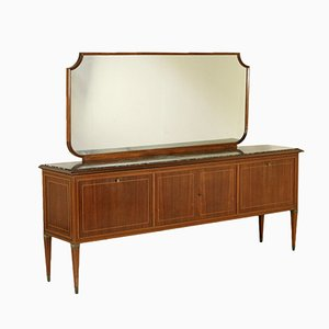 Italian Veneered Wood Buffet with Mirror, 1950s