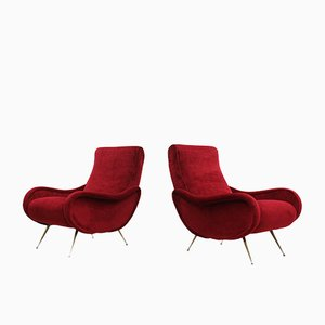 Mid-Century Italian Red Dralon Velvet Lounge Chairs, 1950s, Set of 2
