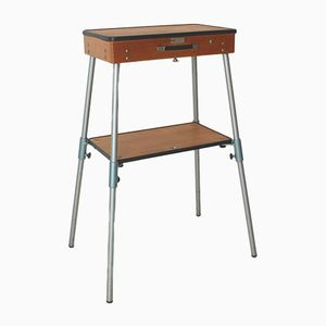 Vintage Industrial Collapsible Side Table with Case