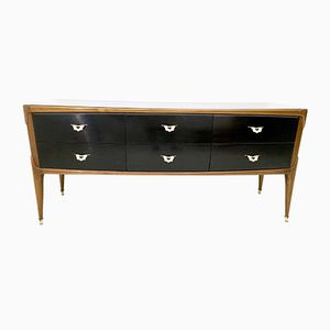 Italian Walnut & Ebonized Wood Dresser with Glass Top, 1950s