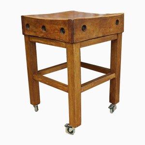 Englischer Vintage Bergahorn Metzger Tisch auf Rollen