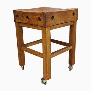 Vintage English Sycamore Butchers Block with Castors
