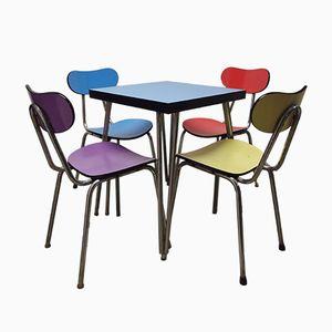 Französischer Bistro Tisch und 4 Stühle, 1960er
