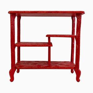 Rot lackierter französischer Holz Konsolentisch, 1960er