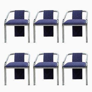 Mid-Century Italian Tubular Steel Chairs, Set of 6