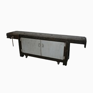 Tavolo da lavoro antico su ruote