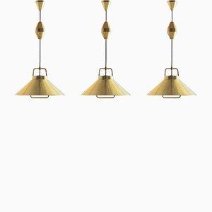 Lampes à Suspension P295 en Laiton par Frits Schlegel pour Lyfa, Danemark, 1960s, Set de 3