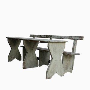 Tavolo e panchina da giardino antichi