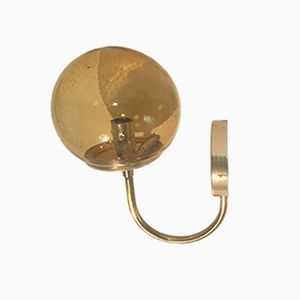 French Brass & Glass Sconce from Parscot, 1970s