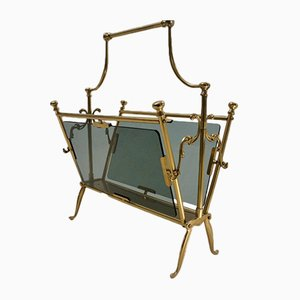 Vintage Brass Magazine Rack from Maison Baguès, 1960s
