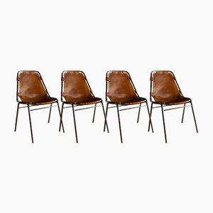 Les Arcs Leather Dining Chairs by Charlotte Perriand for Cassina, 1972, Set of 4