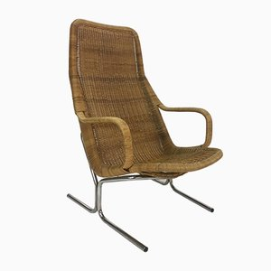 Vintage Rattan & Steel Lounge Chair by Dirk van Sliedrecht, 1950s