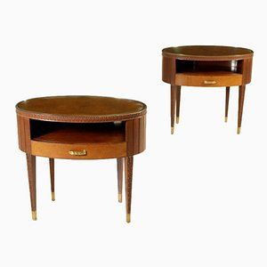 Italian Mahogany, Brass & Glass Nightstands, 1950s, Set of 2