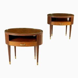 Tables de Chevet en Acajou, Laiton et Verre, Italie, 1950s, Set de 2
